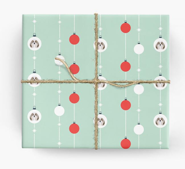 'Baubles' Wrapping Paper with your Bearded Collie Icon