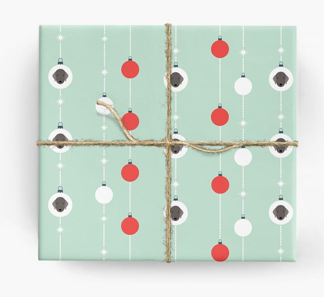'Baubles' Wrapping Paper with your Bedlington Terrier Icon