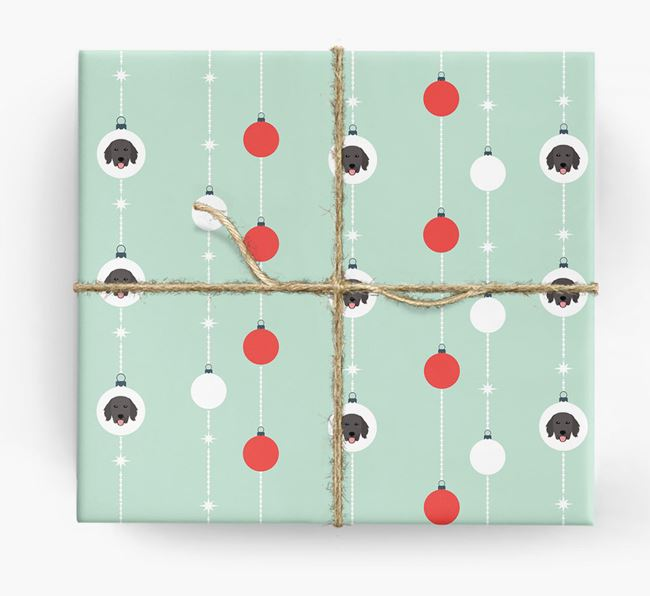 'Baubles' Wrapping Paper with your Flat-Coated Retriever Icon