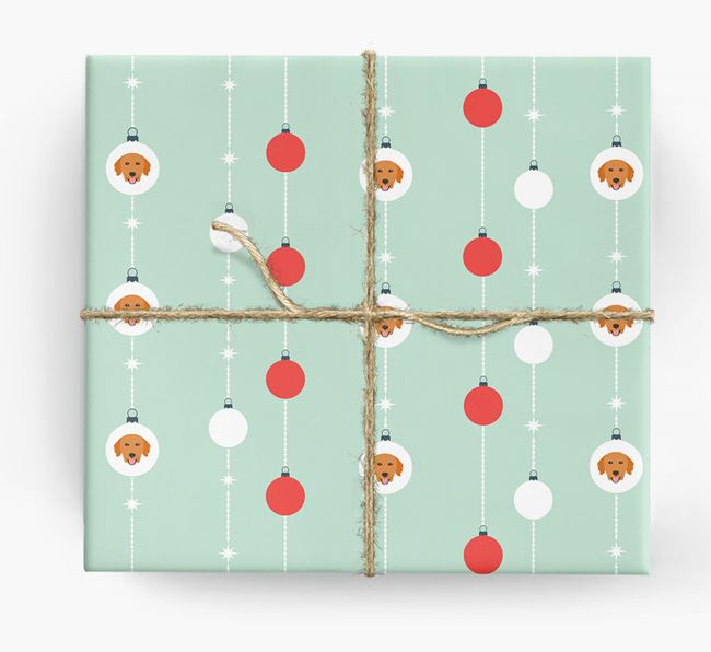 'Baubles' Wrapping Paper with your Golden Retriever Icon