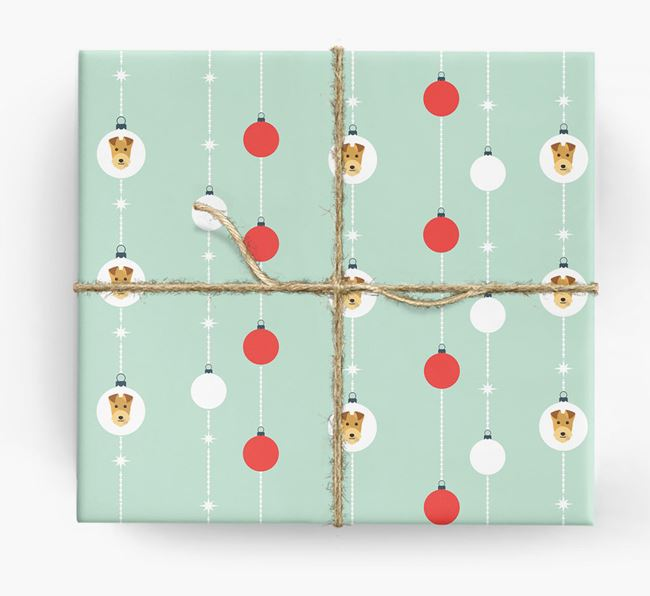 'Baubles' Wrapping Paper with your Lakeland Terrier Icon