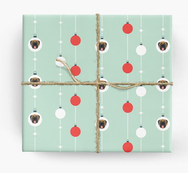 'Baubles' Wrapping Paper with your Mastiff Icon