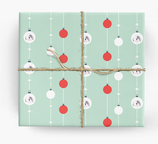 'Baubles' Wrapping Paper with your Old English Sheepdog Icon