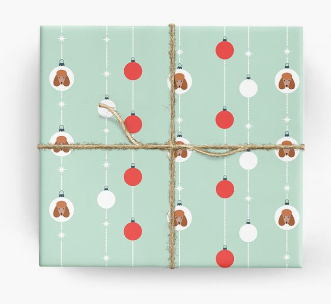 'Baubles' Wrapping Paper with your Poodle Icon