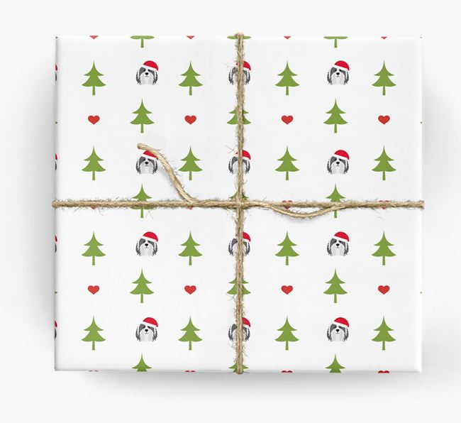 'Christmas Tree' Wrapping Paper with your Bearded Collie Icon Pattern