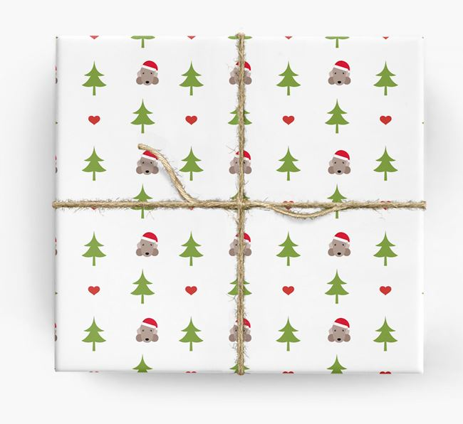 'Christmas Tree' Wrapping Paper with your Bedlington Terrier Icon Pattern