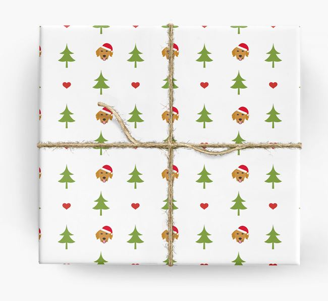 'Christmas Tree' Wrapping Paper with your Golden Retriever Icon Pattern