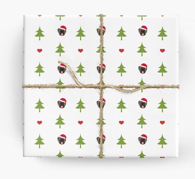 'Christmas Tree' Wrapping Paper with your Mastiff Icon Pattern
