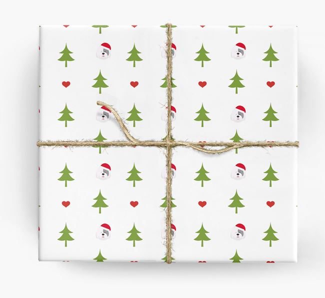 'Christmas Tree' Wrapping Paper with your Old English Sheepdog Icon Pattern