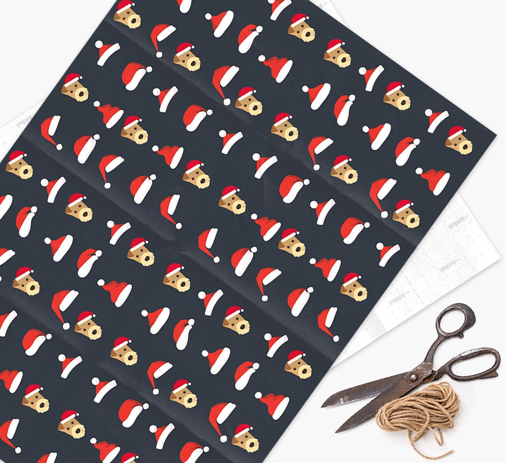 'Santa Hat' Wrapping Paper with your Airedale Terrier Icon Pattern