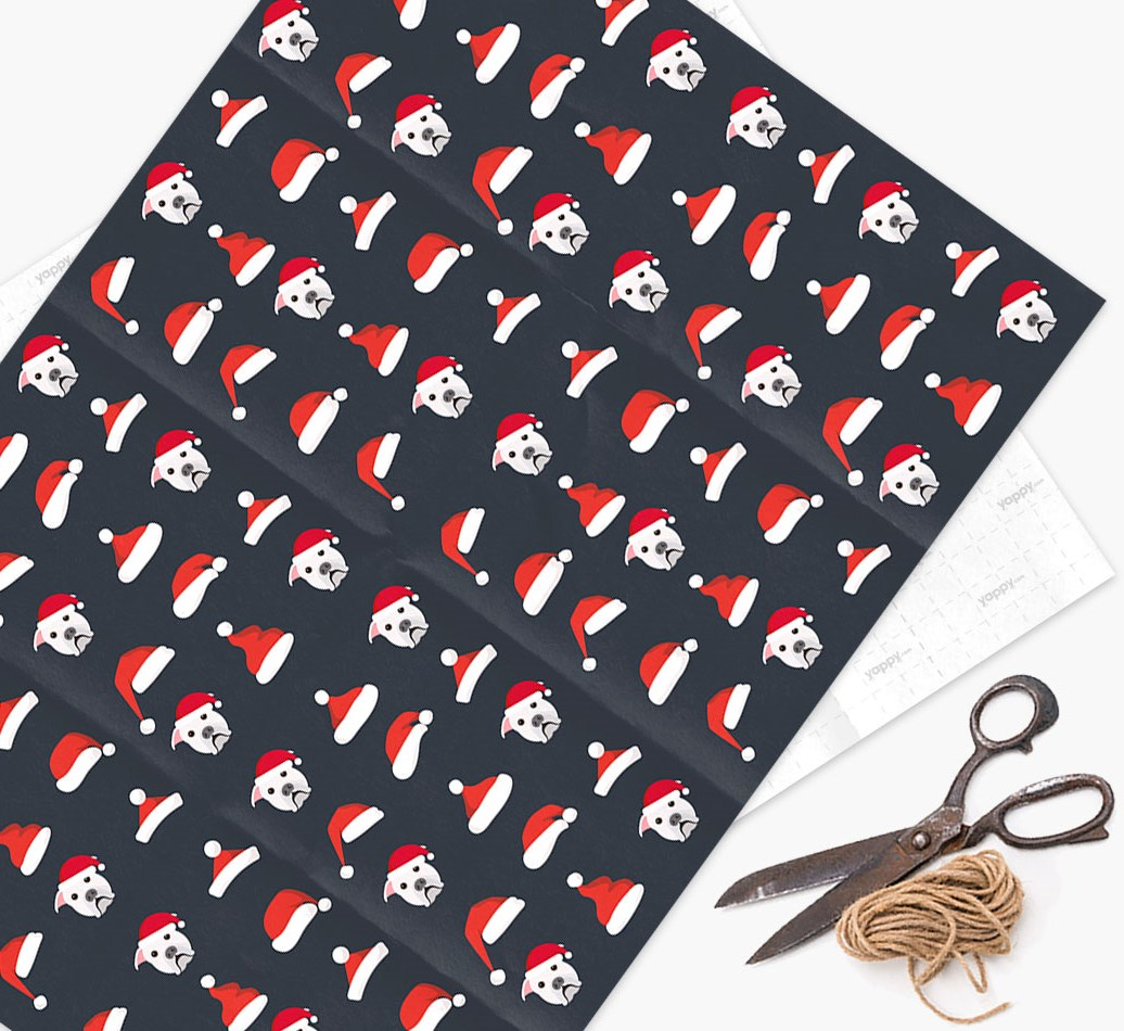 'Santa Hat' Wrapping Paper with your American Bulldog Icon Pattern