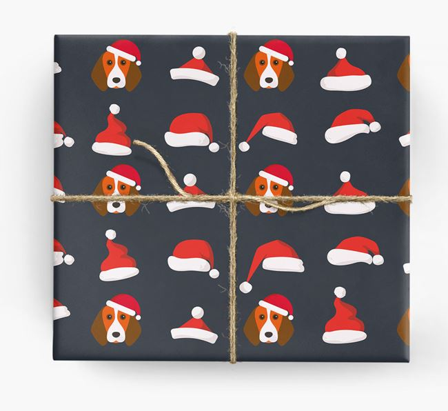 'Santa Hat' Wrapping Paper with your Beagle Icon Pattern