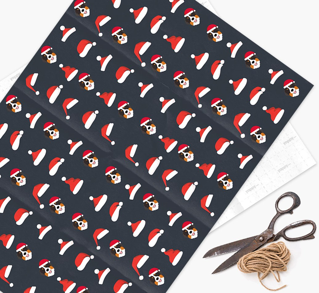 'Santa Hat' Wrapping Paper with your Bernese Mountain Dog Icon Pattern