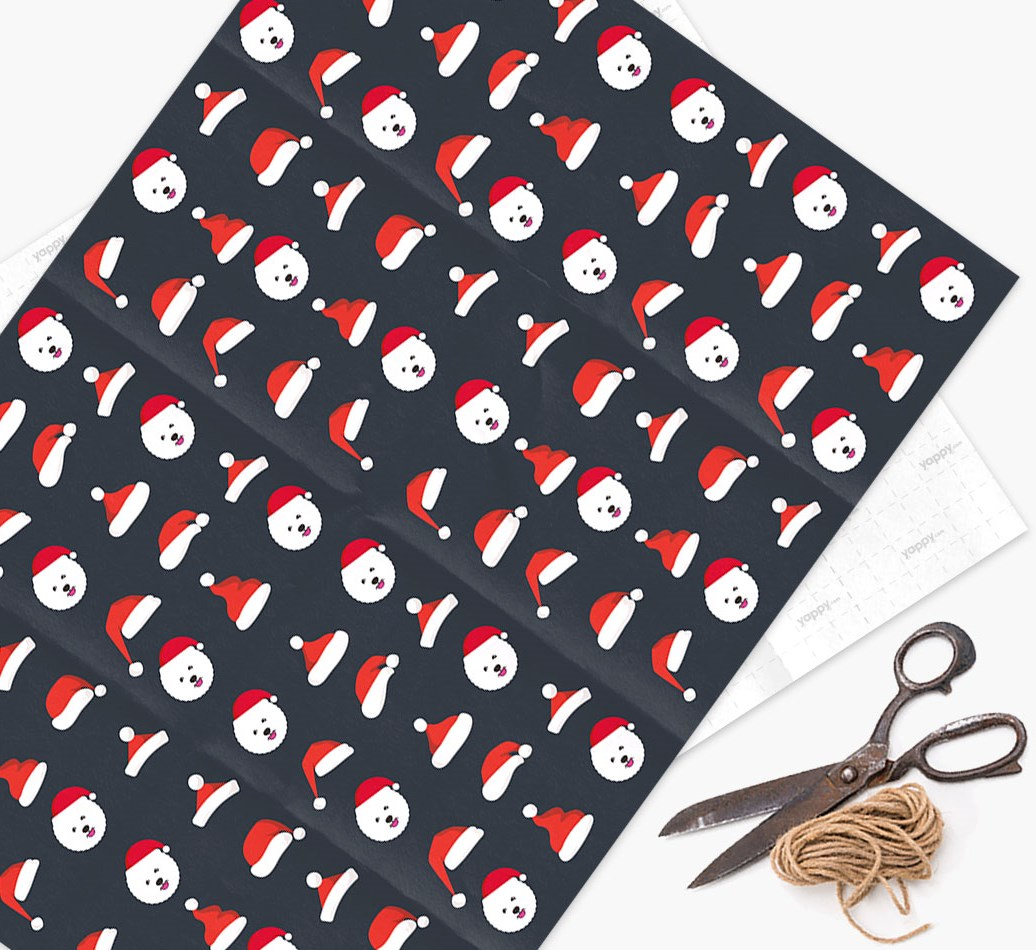 'Santa Hat' Wrapping Paper with your Bichon Frise Icon Pattern