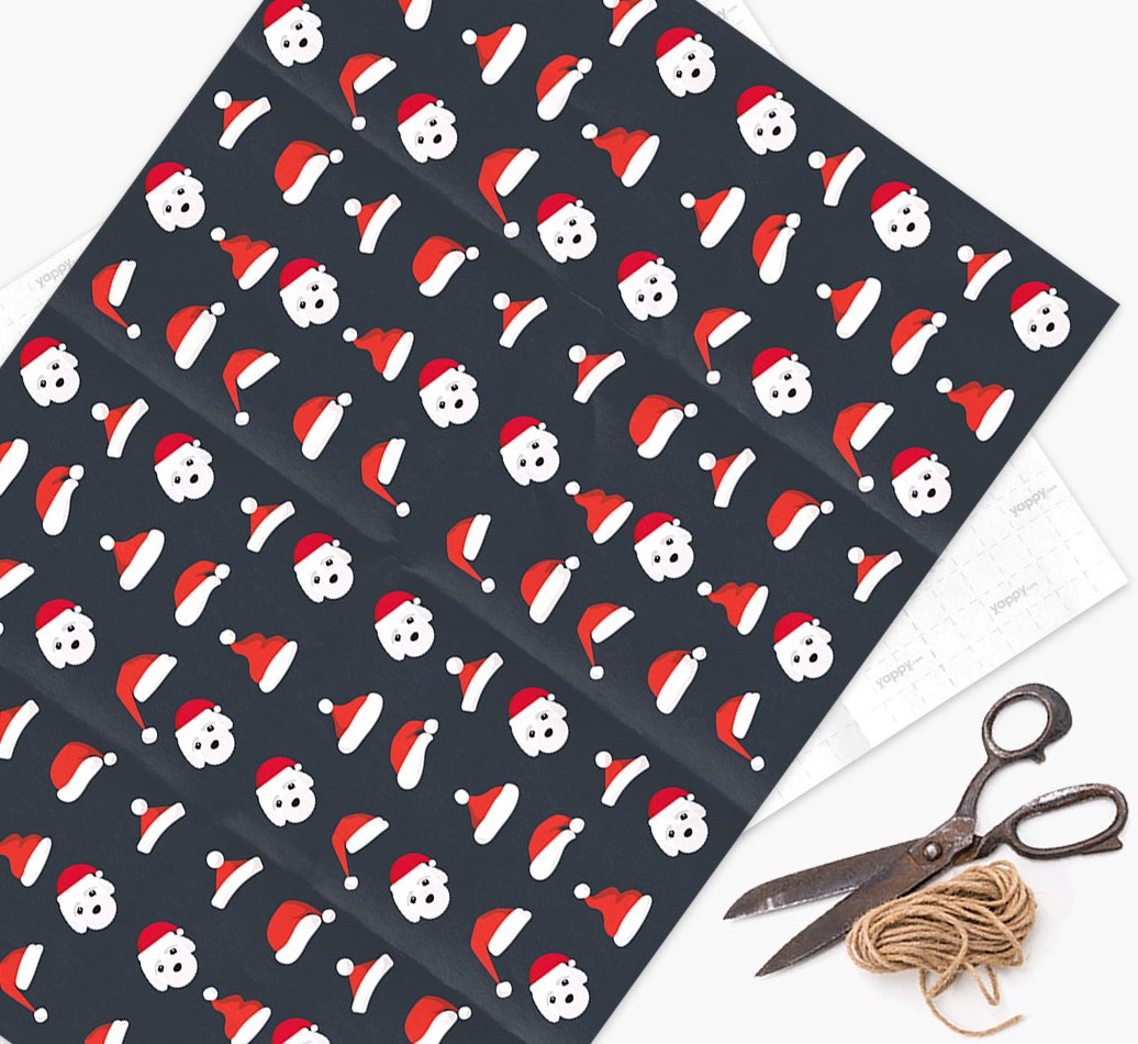 'Santa Hat' Wrapping Paper with your Bich-poo Icon Pattern