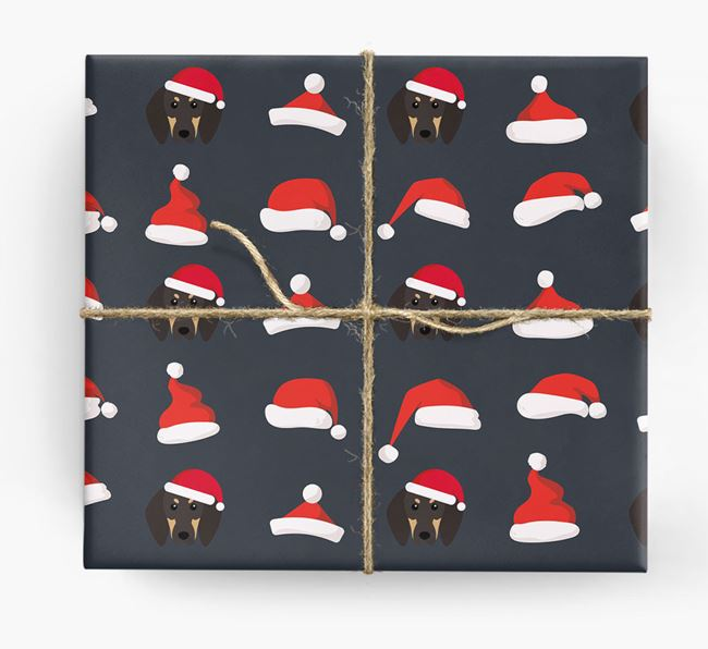 'Santa Hat' Wrapping Paper with your Black and Tan Coonhound Icon Pattern