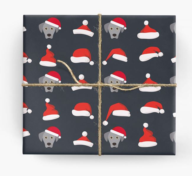 'Santa Hat' Wrapping Paper with your Blue Lacy Icon Pattern