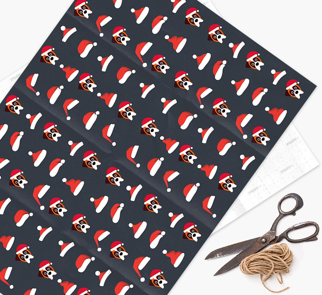'Santa Hat' Wrapping Paper with your Boxer Icon Pattern