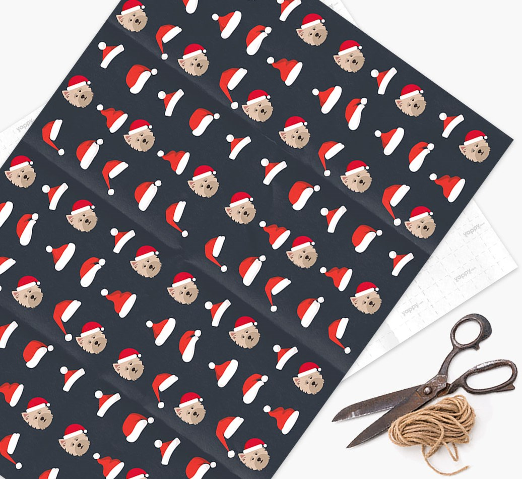'Santa Hat' Wrapping Paper with your Cairn Terrier Icon Pattern