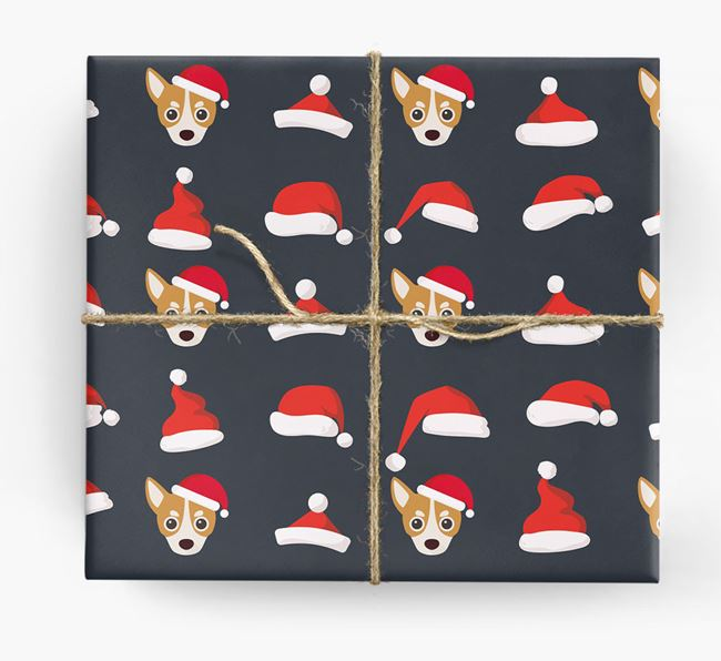 'Santa Hat' Wrapping Paper with your Chihuahua Icon Pattern