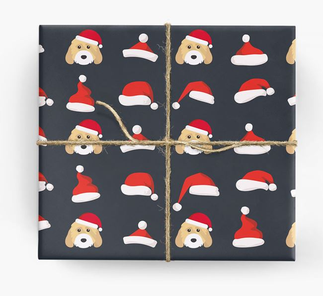 'Santa Hat' Wrapping Paper with your Cockapoo Icon Pattern