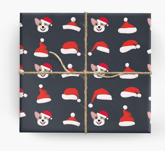 'Santa Hat' Wrapping Paper with your Corgi Icon Pattern