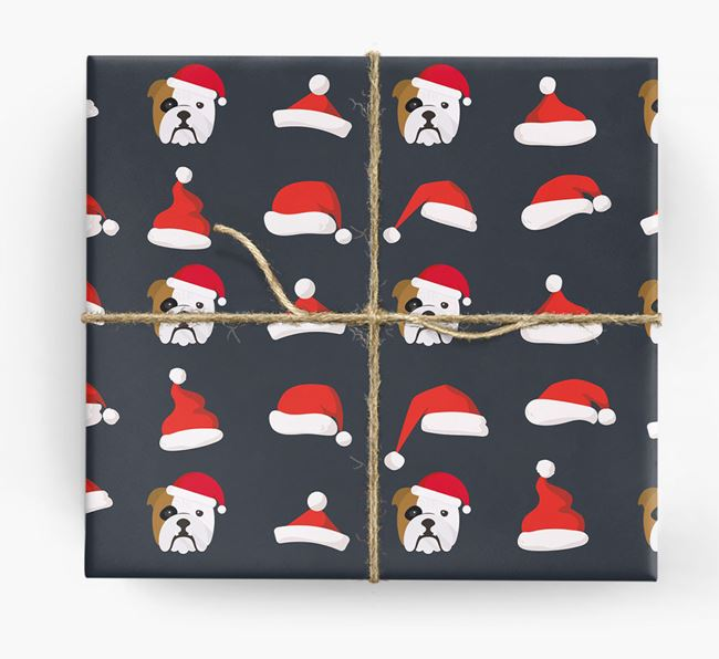 'Santa Hat' Wrapping Paper with your English Bulldog Icon Pattern