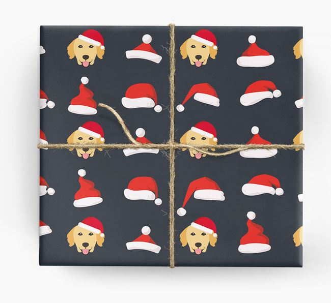'Santa Hat' Wrapping Paper with your Golden Retriever Icon Pattern