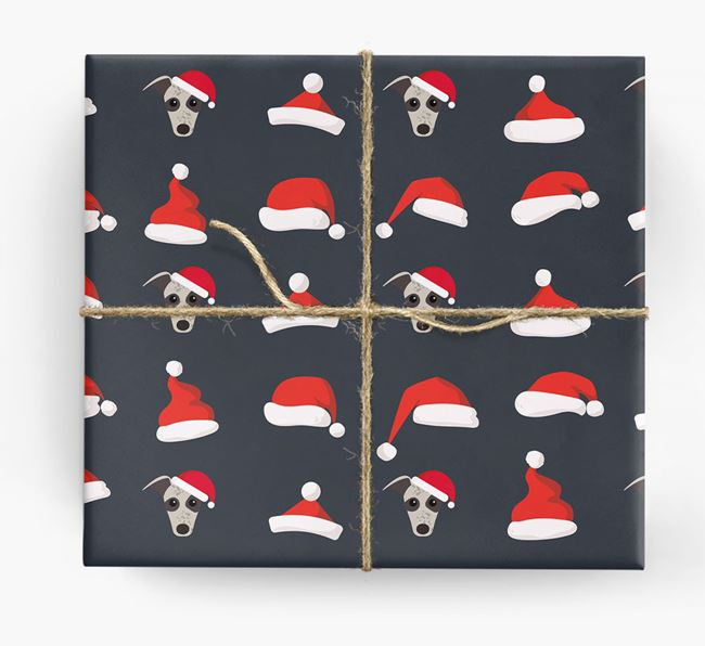 'Santa Hat' Wrapping Paper with your Greyhound Icon Pattern