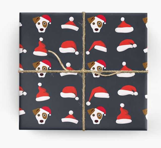 'Santa Hat' Wrapping Paper with your Dog Icon Pattern