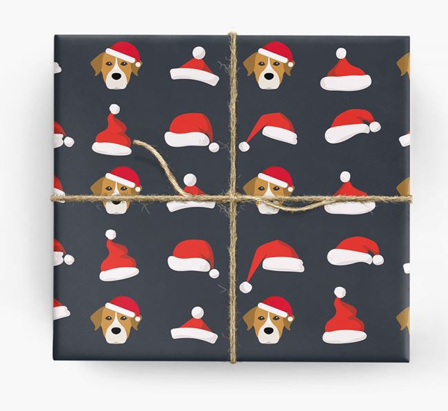 'Santa Hat' Wrapping Paper with your Mixed Breed Icon Pattern