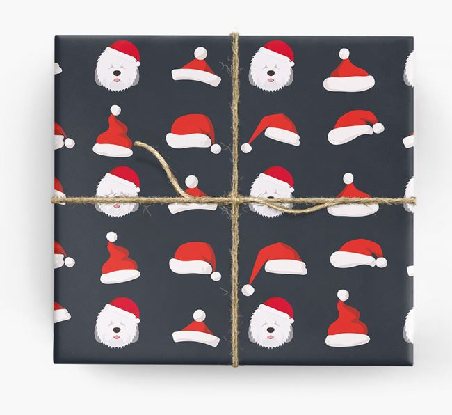 'Santa Hat' Wrapping Paper with your Old English Sheepdog Icon Pattern