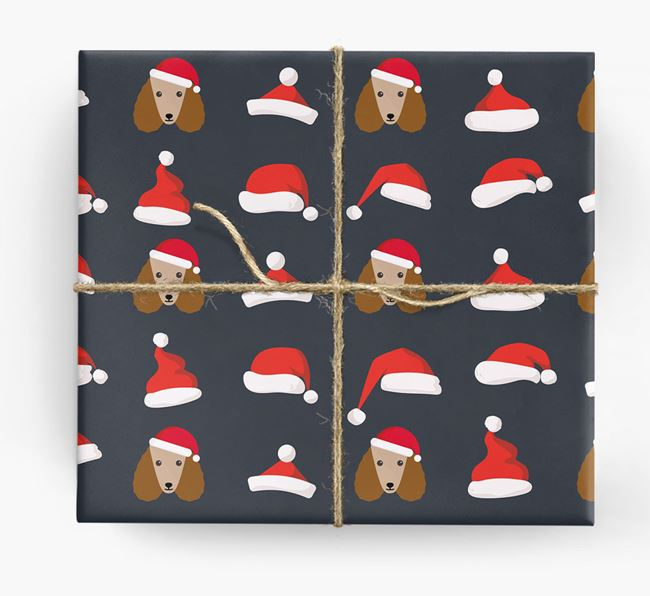 'Santa Hat' Wrapping Paper with your Poodle Icon Pattern