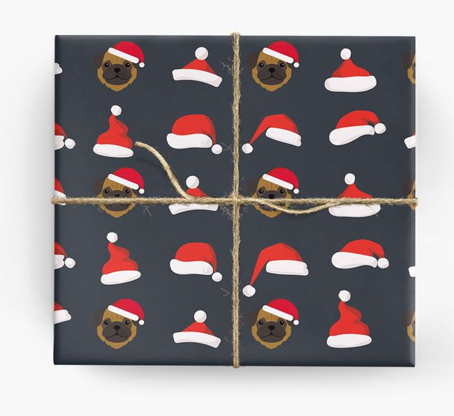 'Santa Hat' Wrapping Paper with your Pug Icon Pattern