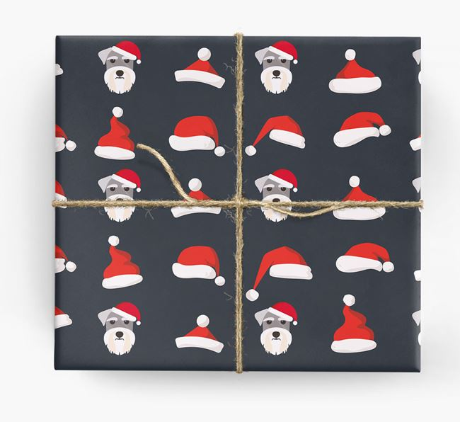 'Santa Hat' Wrapping Paper with your Schnauzer Icon Pattern