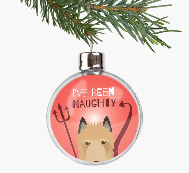 'I've been Naughty' Fillable Bauble with your Belgian Laekenois Icon