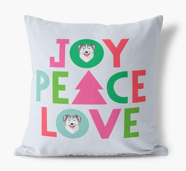 'Joy, Peace, Love' Canvas Cushion with Australian Shepherd Icons