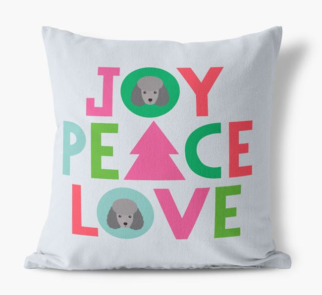 'Joy, Peace, Love' Canvas Cushion with Toy Poodle Icons
