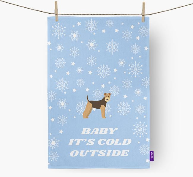 Tea Towel 'Baby, It's Cold Outside' with Airedale Terrier Icon