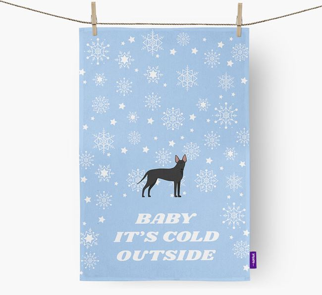 Tea Towel 'Baby, It's Cold Outside' with American Hairless Terrier Icon