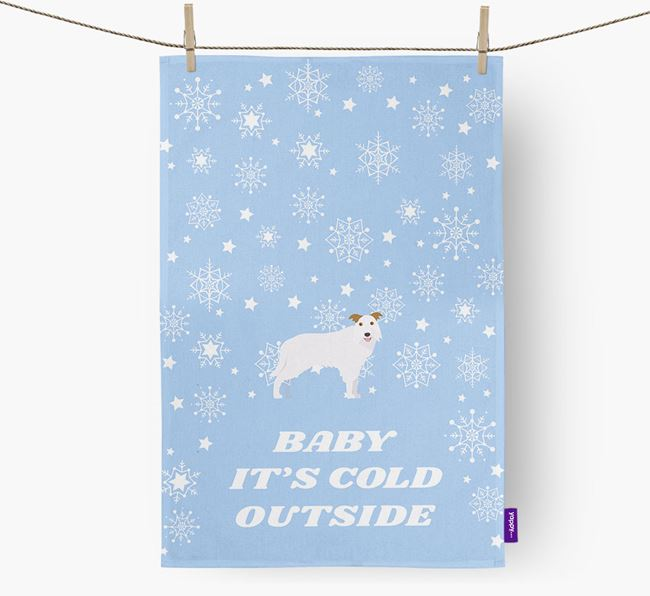 Tea Towel 'Baby, It's Cold Outside' with Border Collie Icon
