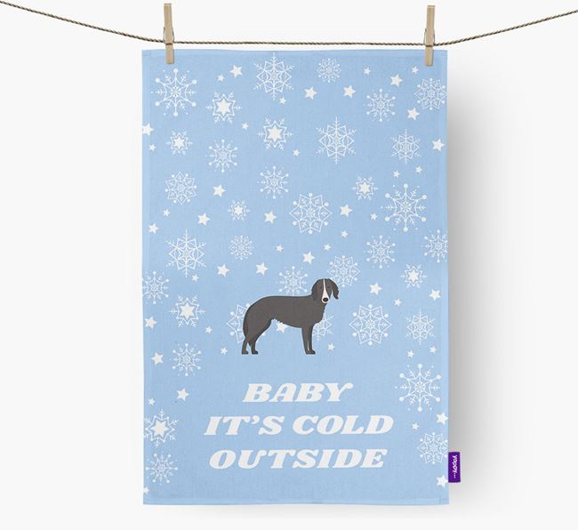 Tea Towel 'Baby, It's Cold Outside' with Borzoi Icon