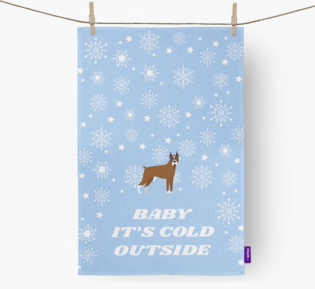 Tea Towel 'Baby, It's Cold Outside' with Boxer Icon