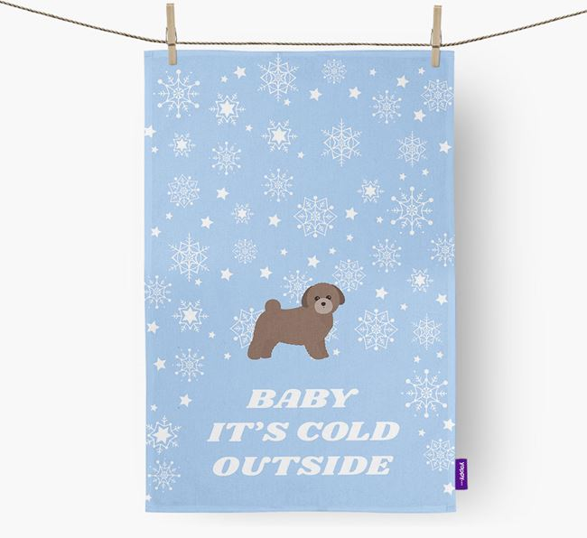 Tea Towel 'Baby, It's Cold Outside' with Toy Poodle Icon