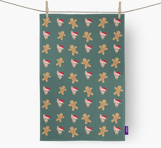 Tea Towel 'Gingerbread Man' with American Hairless Terrier Icon