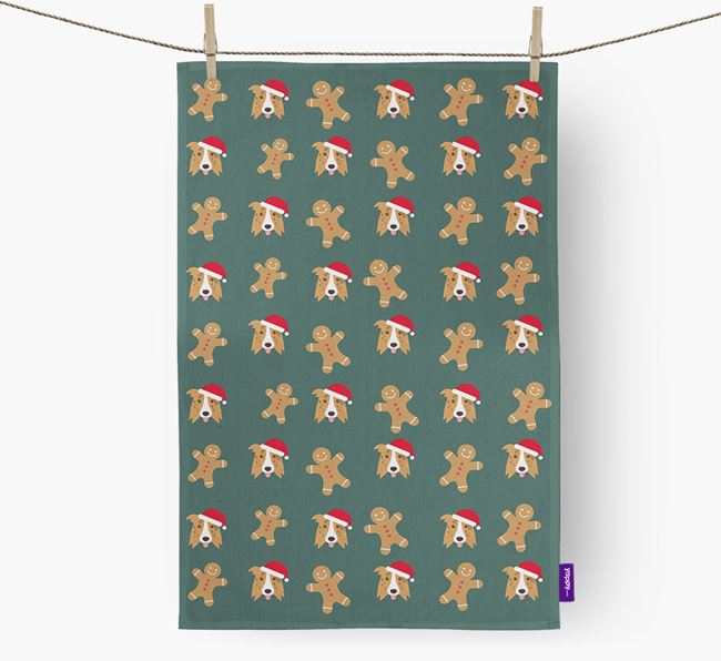 Tea Towel 'Gingerbread Man' with Border Collie Icon