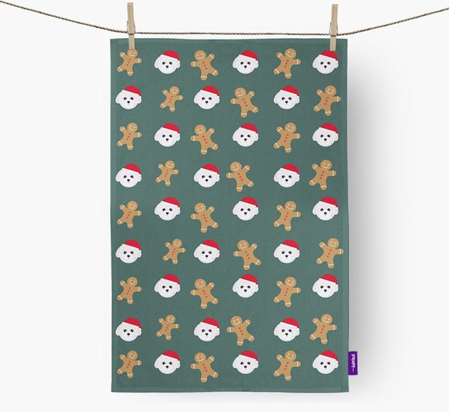 Tea Towel 'Gingerbread Man' with Toy Poodle Icon