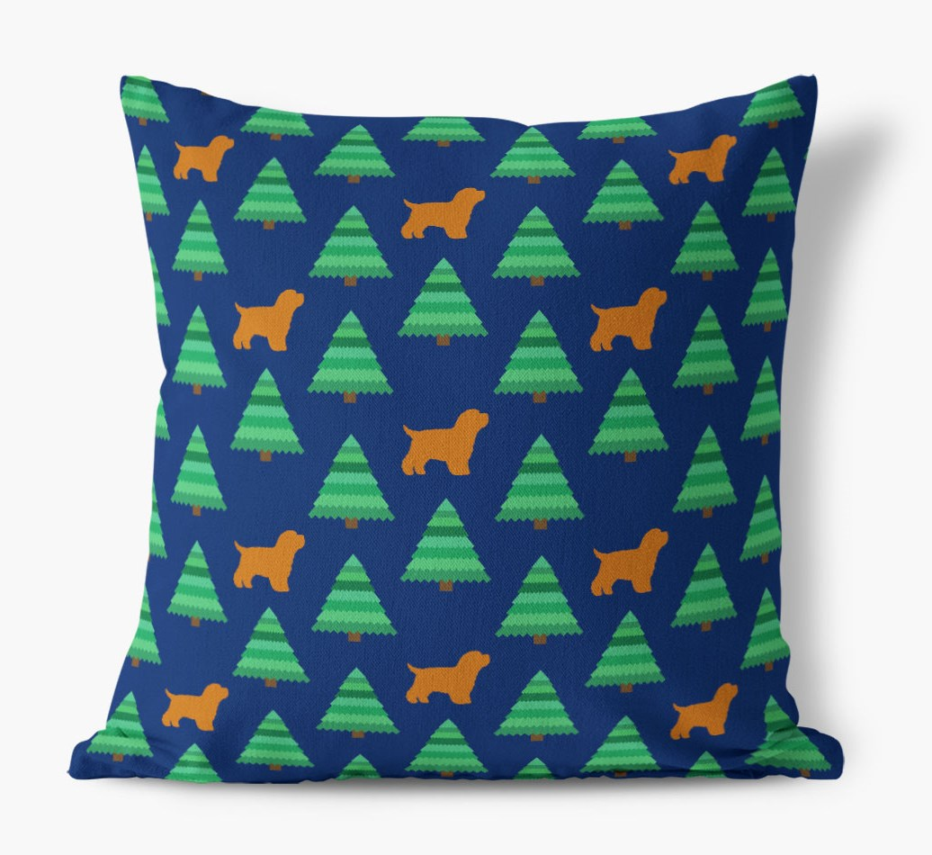 Christmas Tree Pattern Canvas Cushion with Bich-poo Silhouettes