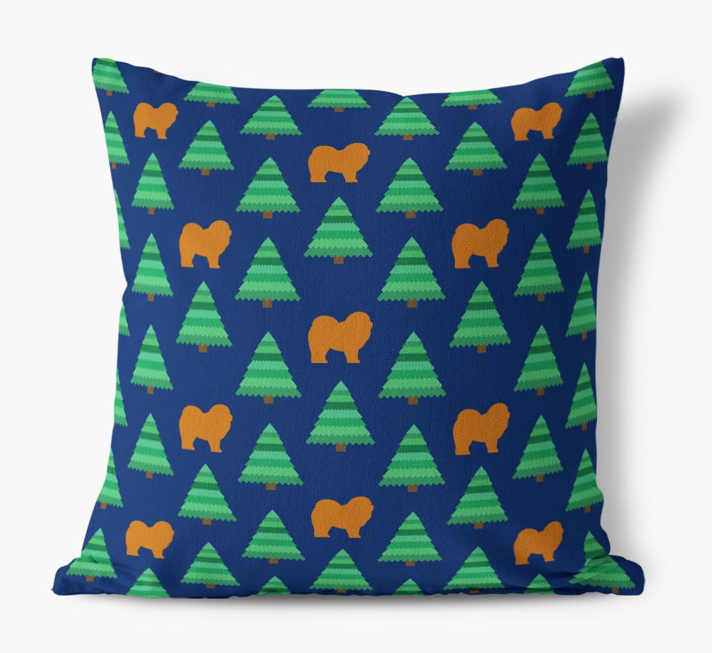 Christmas Tree Pattern Canvas Cushion with Chow Chow Silhouettes