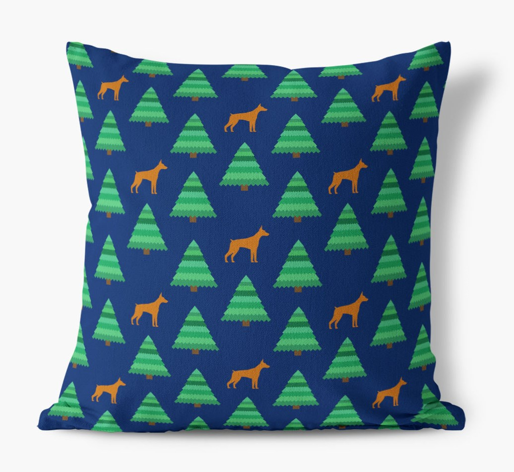 Christmas Tree Pattern Canvas Cushion with Dobermann Silhouettes